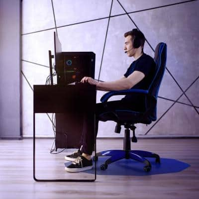"""Colortex® 9Mat® Polycarbonate 9-Sided Blue Gaming E-Sport Chair Mat for Hard Floors - 38"""" x 39"""""""