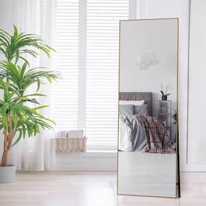 Lester 65 in. x 22 in. Modern Gold Rectangle Aluminum Alloy Framed Full-Length Standing Mirror