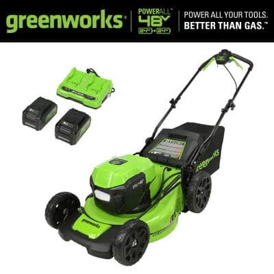 21 in. 48-Volt (2 x 24-Volt) Battery Cordless Self-Propelled Lawn Mower with (2) 5.0 Ah Batteries and Dual Port Charger