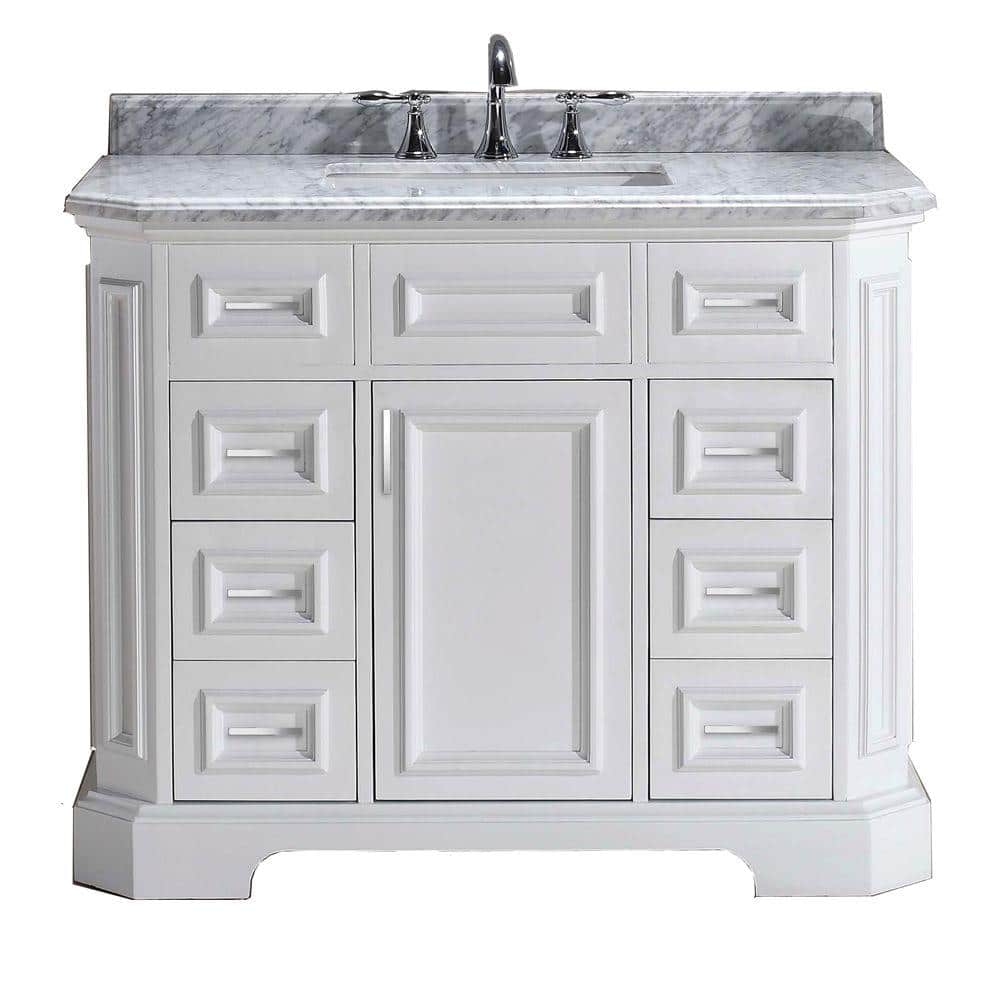 Home Decorators Collection Bristol 42 In Vanity In White With Marble Vanity Top In Carrara White Pebristol42w The Home Depot