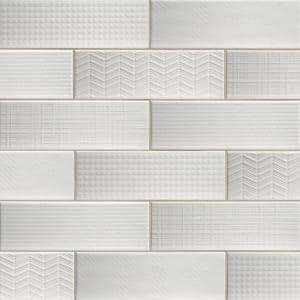 Citylights Pure 3D Mix 12 in. x 4 in. Glossy Ceramic White Textured Subway Tile (9.9 sq. ft. / case)