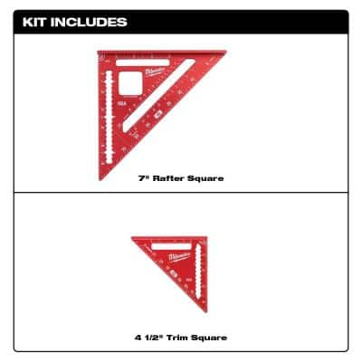 7 in. Rafter Square and 4-1/2 in. Trim Square Set with FASTBACK Utility Knife (2-Pack)
