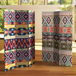 6 ft. Ikat Printed 3-Panel Room Divider