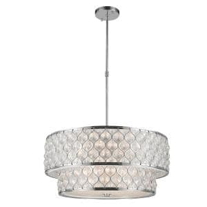 Paris 12-Light Chrome Pendant with Clear Crystal Drum Shade