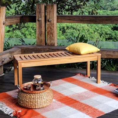 Colton Teak Wood Outdoor Backless Bench
