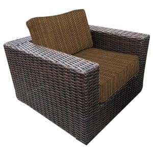 Santa Monica Weather Resistant Wicker Outdoor Club Lounge Chair with Sunbrella Oak Dupione Brown Cushions
