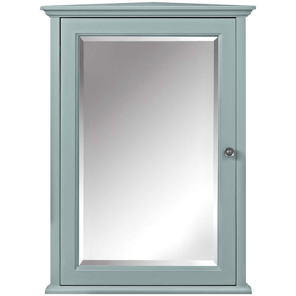 Home Decorators Collection Hamilton 20 In W X 27 In H X 12 In D Corner Bathroom Storage Wall Cabinet In Sea Glass 0567700310 The Home Depot