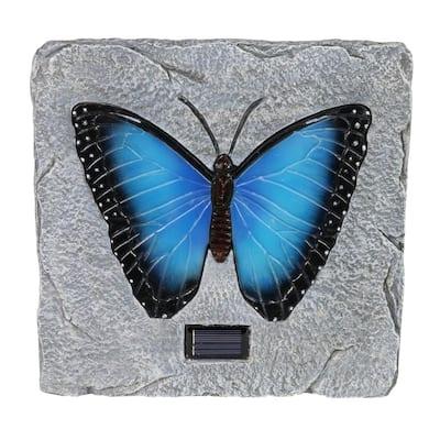 Solar Butterfly 9.84 in. x 9.84 in. x 1.18 in. Blue Butterfly Resin Step Stone