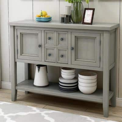 46 in. L Antique Gray 34 in. Height Rectangle Solid Wood Buffet Sideboard Console Table with Bottom Shelf