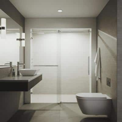 Ferrara 59.5 to 60.5 in. W x 74 in. H Sliding Frameless Shower Door in Chrome with Clear Glass