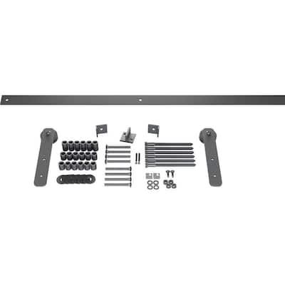 1-1/2 in. x 10-1/4 in. x 84 in. Steel Economy Straight Strap Barn Door Hardware Set Moulding Silver Metallic