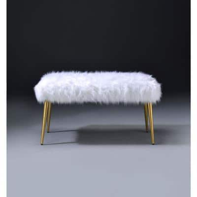 Bagley II White Faux Fur and Gold Bench