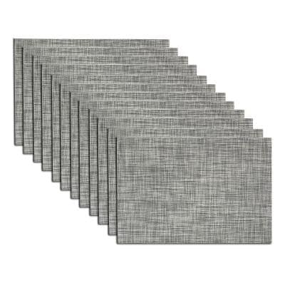 EveryTable 18 in. x 12 in. Gray and White Weave Polyester Placemat (Set of 12)