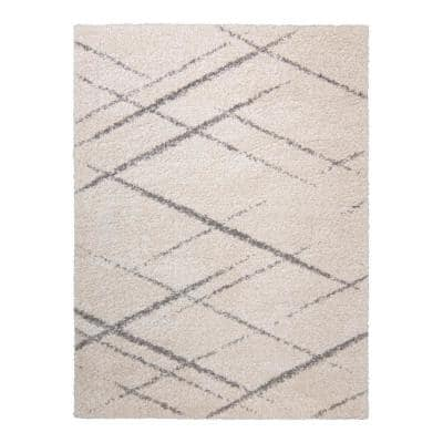 Thayer Corfu Ivory 9 ft. x 13 ft. Abstract Shag Indoor Area Rug