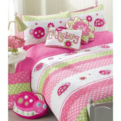 Polka Dot Floral Embroidered Lady Bug Stripe 5-Piece Pink Green White Cotton Twin Quilt Bedding Set w/ 3-Decor Pillows