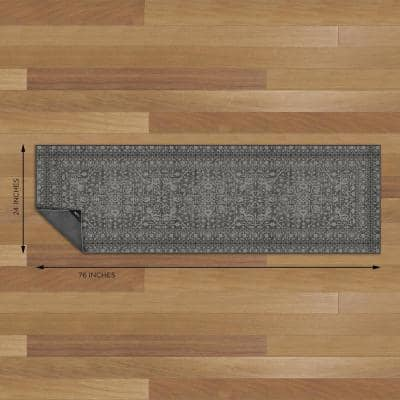 Nevermove Bella Charcoal 2 ft. x 6.3 ft. Machine-Washable Polyester Designer Accent Area Rug with GellyGrippers