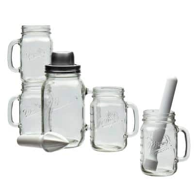 7-Piece Clear Glass Embossed Cocktail Barware Set