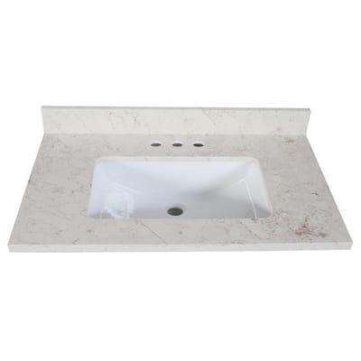 Giallo Quartz 31 in. x 22 in. Vanity Top with Square Ceramic White Undermount Basin