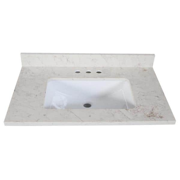 Design House Giallo Quartz 31 In X 22 In Vanity Top With Square Ceramic White Undermount Basin 556993 The Home Depot