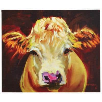 """20.25 in. H x 24 in. W """"One Cow"""" Wide Canvas Wall Art"""