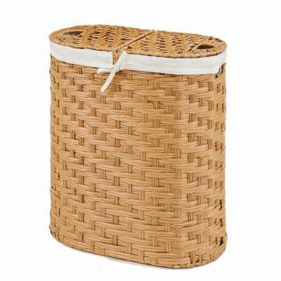 Natural Handwoven Oval Double Laundry Hamper with Liner