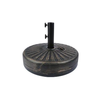 20 in. Round Hard Plastic Free-Standing Patio Umbrella Base in Bronze