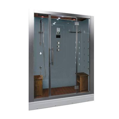 59 in. x 32 in. x 87.4 in. Steam Shower Enclosure Kit in White