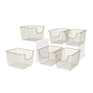 Scoop 12.75 in. D x 9.5 in. W x 8 in. H Small Satin Nickel Steel Wire Storage Bin Basket Organizer (6-Pack)