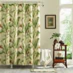 Palmiers Green Cotton 72in. X 72in. Shower Curtain