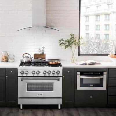 ZLINE 36 in. 4.6 cu. ft. Dual Fuel Range with Gas Stove and Electric Oven in Stainless Steel (RA36)