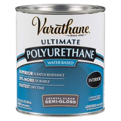 1 qt. Clear Semi-Gloss Water-Based Interior Polyurethane (2-Pack)