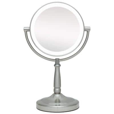 9 in. x 14 in. LED Lighted Cordless Round 1X/10X Magnified Vanity Makeup Mirror in Satin Nickel
