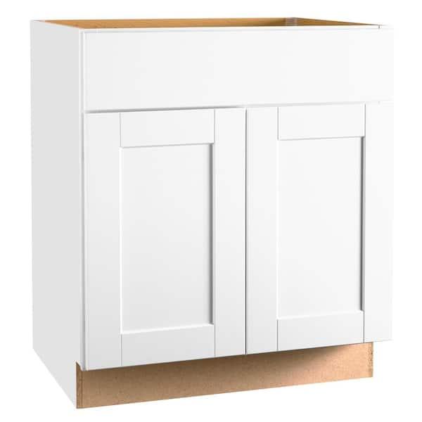 Hampton Bay Shaker Assembled 30 X 34 5 X 21 In Bathroom Vanity Base Cabinet In Satin White Kvsb30 Ssw The Home Depot