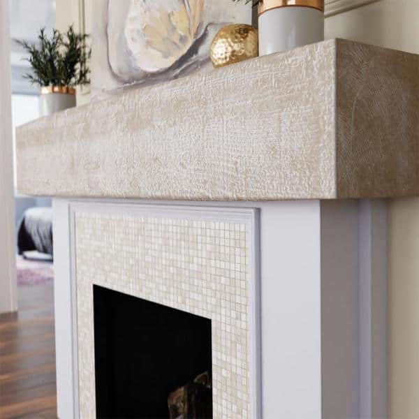 Ekena Millwork 8 In X 7 Ft, Faux White Fireplace Mantel