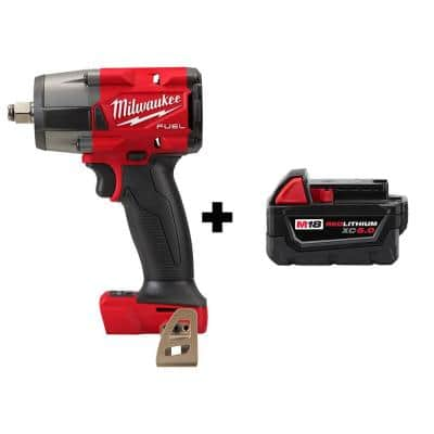 M18 FUEL Gen-2 18-Volt Lithium-Ion Brushless Cordless Mid Torque 1/2 in. Impact Wrench with (1) 5.0 Ah Battery
