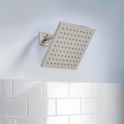 Modern 1-Spray 8 in. Single Wall Mount Fixed Rain Shower Head in Brushed Nickel