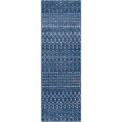 Blythe Modern Moroccan Trellis Dark Blue 3 ft. x 8 ft. Runner