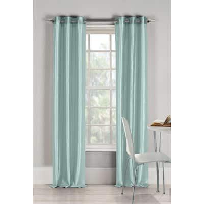 Aqua Blue Faux Silk Grommet Room Darkening Curtain - 38 in. W x 84 in. L (Set of 2)