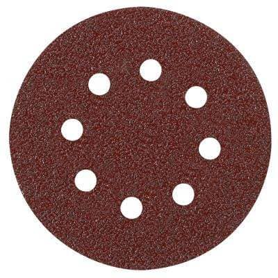 5 in. 8-Hole Red 120-Grit Hook and Loop Sanding Disc (5-Pack)