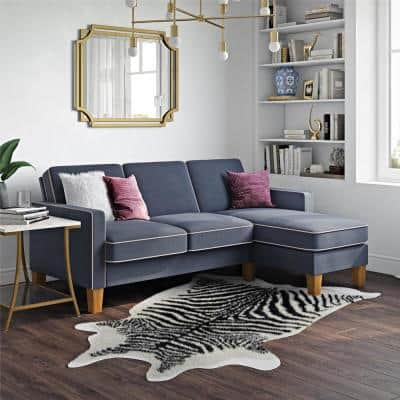 Bowen Blue Sectional Sofa with Contrast Welting
