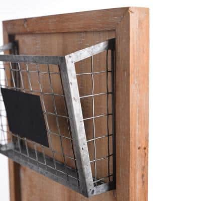 37 in. H x 13 in. W x 4 in. D StyleWell Wood Wall Organizer with 3 Metal Wire Baskets