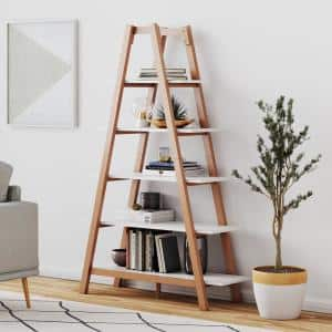 Deals on Nathan James Carlie White and Brown 5-Shelf Ladder Bookcase