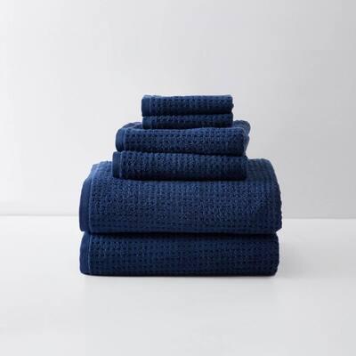 Northern Pacific 6-Piece Dark Blue Cotton Towel Set