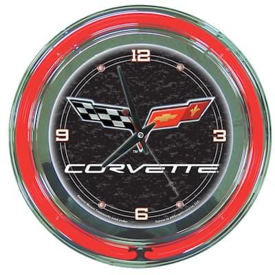 14 in. Black Corvette C6 Neon Wall Clock