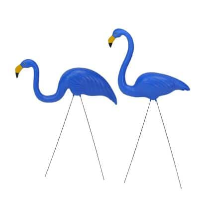 Tropical Blue 33 in. Flamingo Outdoor Lawn Stakes (Set of 2)