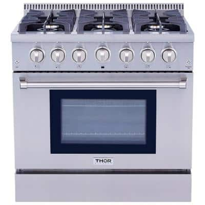 36 in. 5.2 cu. ft. Oven Gas Range in Stainless Steel