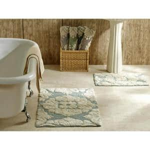 Medallion Collection 2-Piece Blue/Ivory 100% Cotton Medallion Design Bath Rug Set 24 in. x 40 in.:17 in. x 24 in.