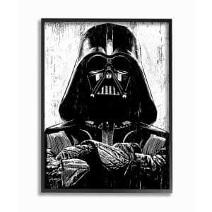11 in. x 14 in. ''Black and White Star Wars Darth Vader Distressed Wood Etching'' by Artist Neil Shigley Framed Wall Art