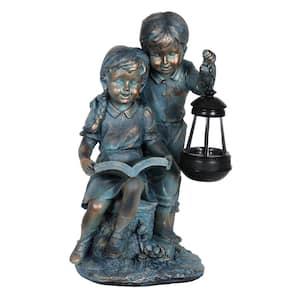 Solar Faux Bronze Girl and Boy Garden Statue