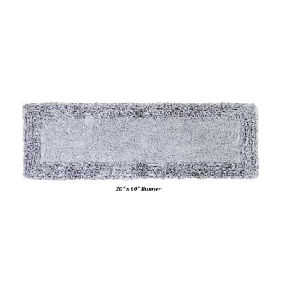 Shaggy Border Collection Silver 20 in. x 60 in. 100% Cotton Bath Rug